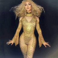 Sexy Stage Gold Rhinestones Nude Jumpsuit Sexy Nice Bodysuis Full Crystals Stage Clothing Costume Prom Birthday Celebrate Outfit