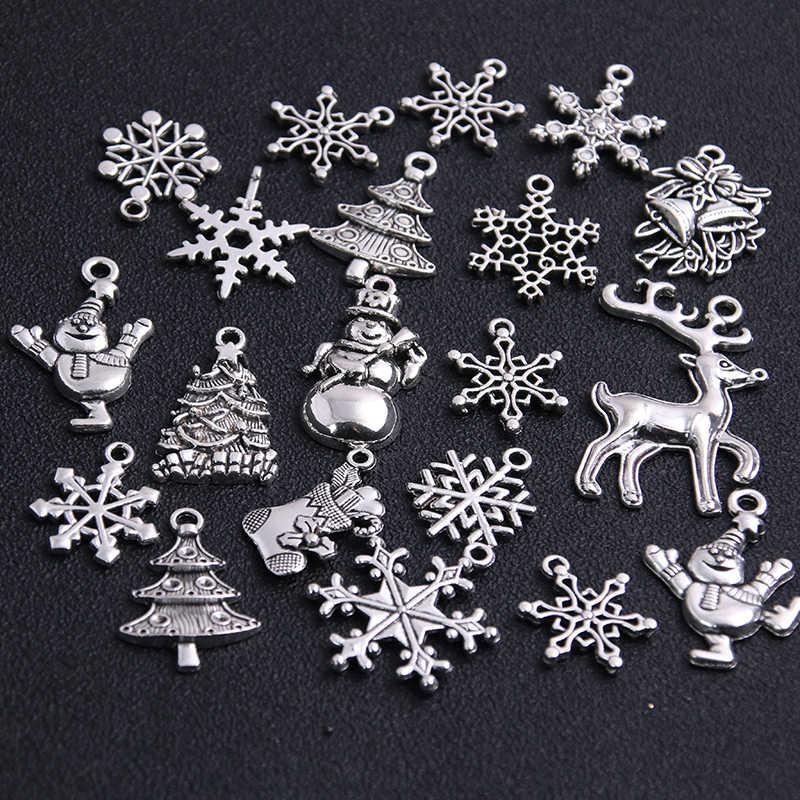 20Pcs מעורב שני צבע חג המולד אתחול שלג אתחול Snowflake קסמי תליוני תכשיטי ביצוע Accessor T0977