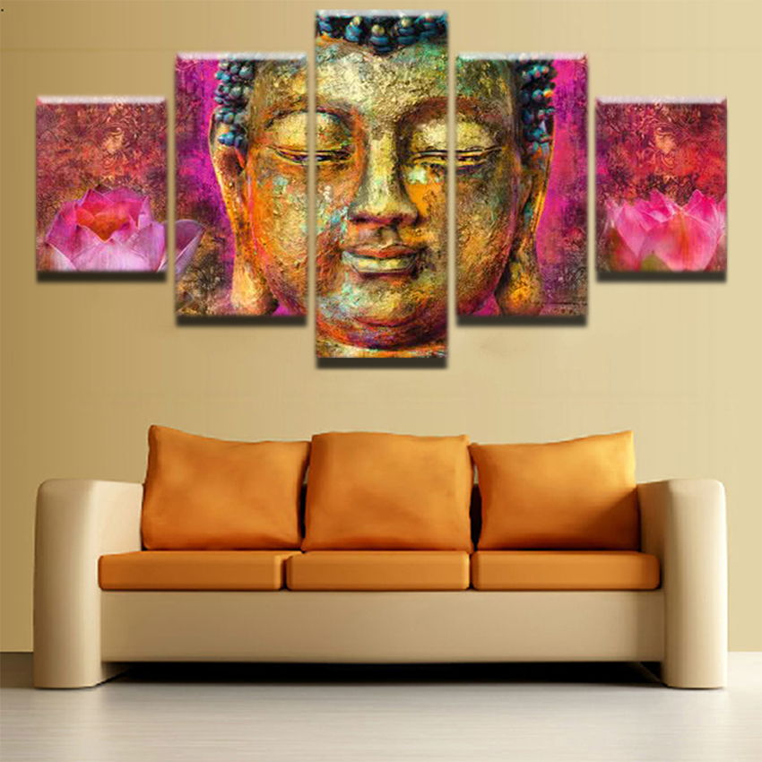 5 Pieces Pink Lotus Flower Posters Canvas Wall Art Pictures Home ...