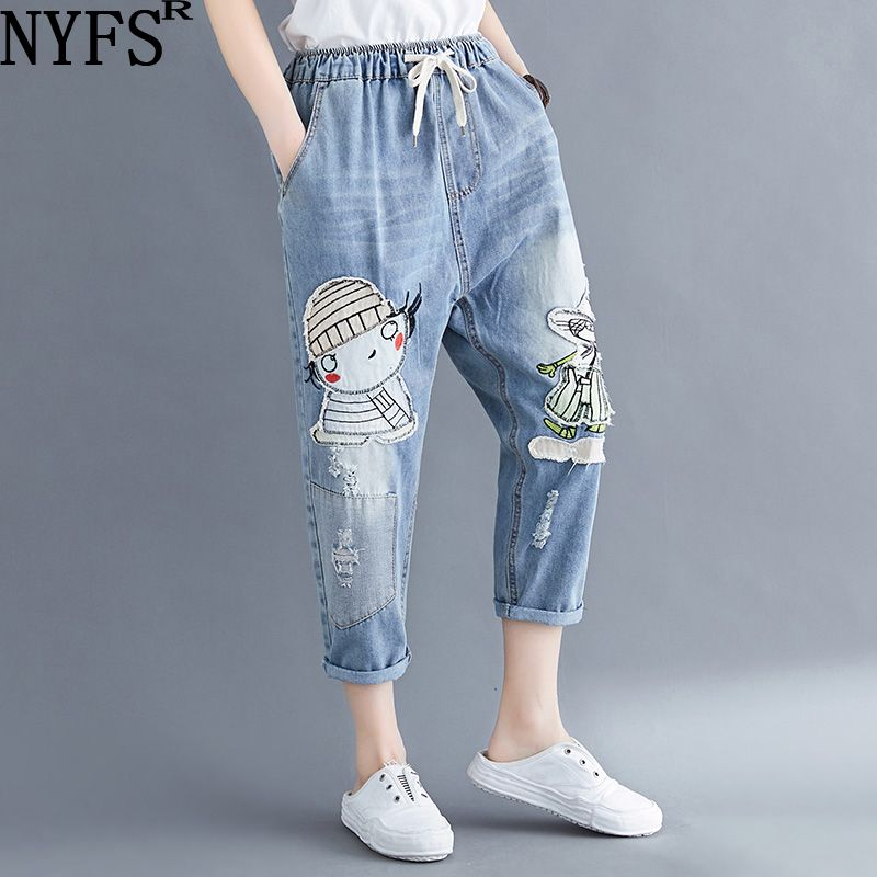 NYFS Plus Size Women Jeans 2020 Summer Harem Pants Cartoon Embroidery Elastic Waist Oversize Vintage Trousers New Ripped Jeans