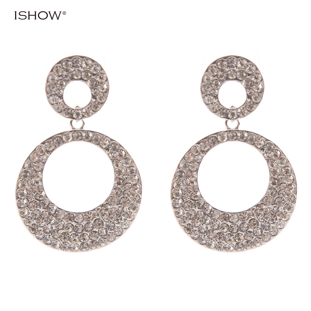 Christmas Gifts 4.2 Cm Luxurious Double Circle Bride Earrings Silver Bridal Vintage Crystal Wedding Earrings Statement Jewellery
