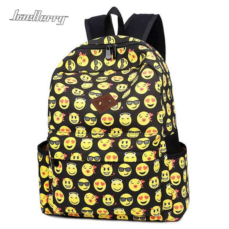 Emoji Black 3D Printing Canvas Backpacks Smiley School Teenagers Girls Shoulder Bag