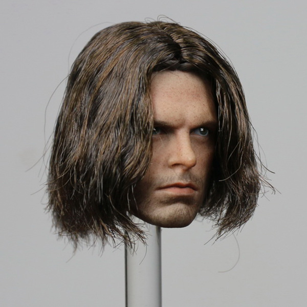 1/6 Scale Captain America Winter Soldier Bucky Head Sculpt Model 2.0 With Rooted Hair for 12 inches Male Figures Collections 1 6 scale male head sculpts model toys downey jr iron man 3 captain america civil war tony with neck sets mk45 model collecti f