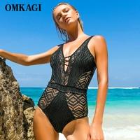 OMKAGI Lace One Piece Swimsuit Swimwear Women Sexy Bandage Push Up Bodysuit Swimming Bathing Suit Beachwear