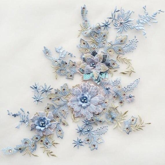 Luxury Large piece Blue /& Gold sequins beads floral lace applique lace motif