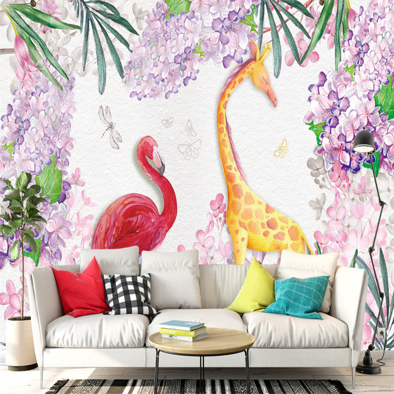 3D Custom Wallpapers Hand-painted Murals Flowers Tree Photo Wall Papers for Living Room Walls Murals Giraffe Flamingo Pictures custom 3d elegant hand painted flowers