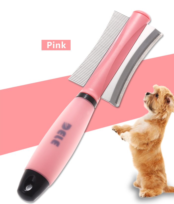 KIMHOME Dog Cat Removal Hairs Comb Brush Fur Shedding Trimming Blue Pink Dual Purpose Pet Grooming Tool Wholesale 7