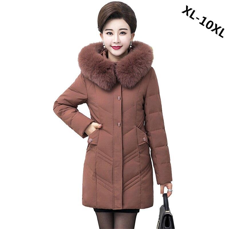 2018 Inverno para baixo casaco de meia idade do sexo feminino Plus Size XL-10XL Grosso pato Branco quente para baixo mulheres jaqueta gola De Pele Com Capuz tops N284