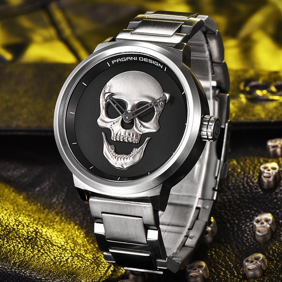Top Luxury PAGANI DESIGN Punk 3D Skull Watch Men's Retro Fashion Watch Brand Man Clock Military Aviator Quartz Relogio Masculino (33)