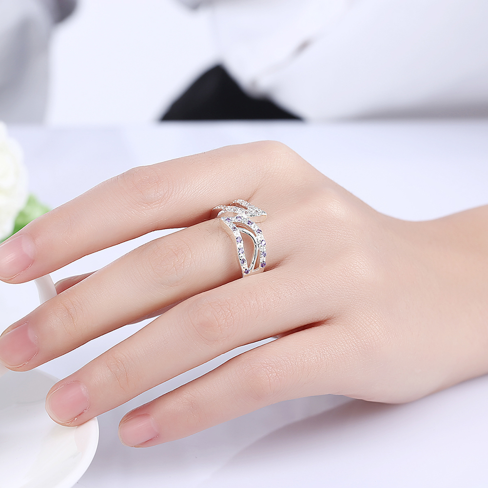 Hot Sale Exquisite Leaf Shaped Created Amethyst White Crystal Ring ...