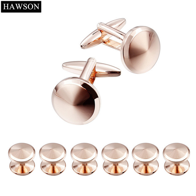 b45f7df432e Hawson Brand Rose Gold Color Cufflinks and 6 Studs Tuxedo Shinny Mens  French Cuff Shirt Button