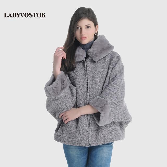 LADYVOSTOK с капюшоном меховой воротник молния Bat рукава короткие норки сращивания женщины зимняя куртка шерстяное пальто дубленка GY842