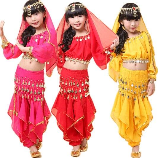 9c3baa9be Child belly dance costume set girl dance clothes kids india performance wear  5pcs Top&Pant&Belt&Headband&Bracelet VL-K6