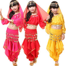 Child belly dance costume set girl dance clothes kids india performance wear 5pcs Top&Pant&Belt&Headband&Bracelet VL-K6(China)