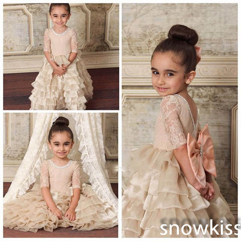 Champagne cupcake flower girl dresses half sleeves with Bow Crystals nude kids Birthday Party Formal Gown first communion dress