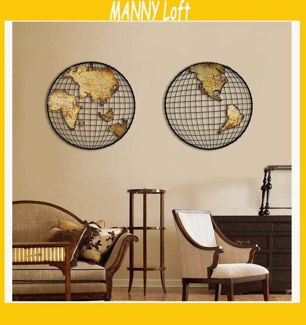 Online shop 1 set retro round 3d world map wall sticker american 1 set retro round 3d world map wall sticker american style metal bracket wall decoration loft style world map wall decoration gumiabroncs Image collections