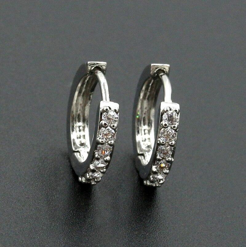 b3812ab0499a6 US $0.21 45% OFF|Crystal Hoop Earring Small Circle Huggie Earrings Silver  Cubic Zircon Rhinestone Round Loop Charm Women Men Fashion Ear Jewelry-in  ...