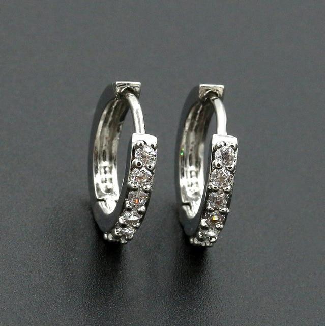 Crystal Hoop Earring Small Circle Huggie Earrings Silver Cubic Zircon Rhinestone Round Loop Charm Women Men