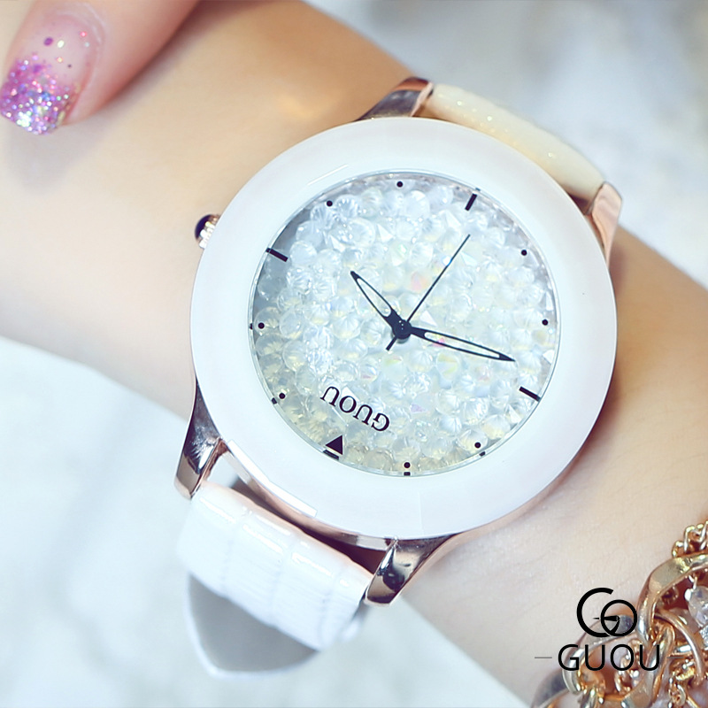 цены Top Luxury Diamond Ceramic Watch Women Dress Casual Watches Fashion Bracelet Wrist watch Clock with leather Band Drop ship