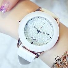 Superior De Lujo Del Diamante De Cerámica Reloj de Las Mujeres Vestido Casual Relojes de Pulsera de Moda reloj de pulsera de Reloj con Banda de cuero nave de La Gota