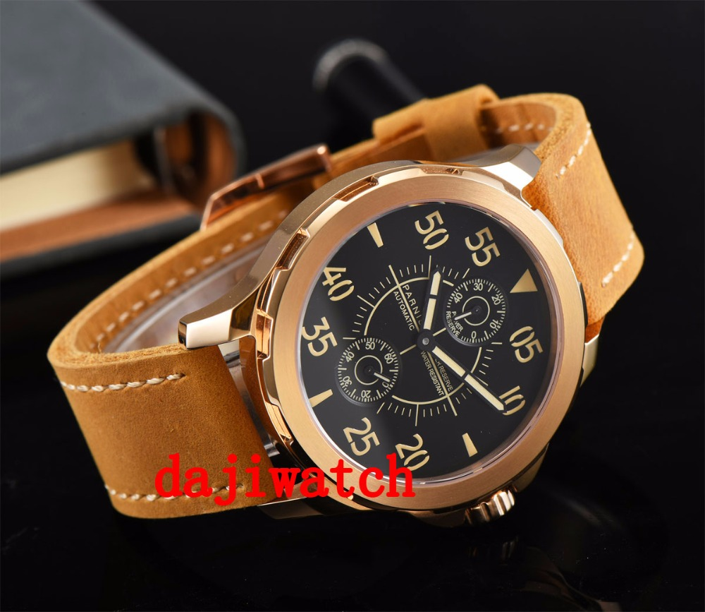 44mm parnis miypota automatic date adjust squaremens watch Men's watch  Orange strap