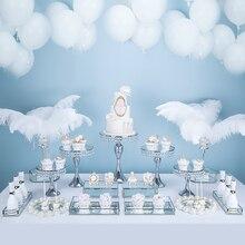 13-17 шт. Серебряный Свадебный десертный стол свадебный торт стенд лоток набор зеркальный лоток