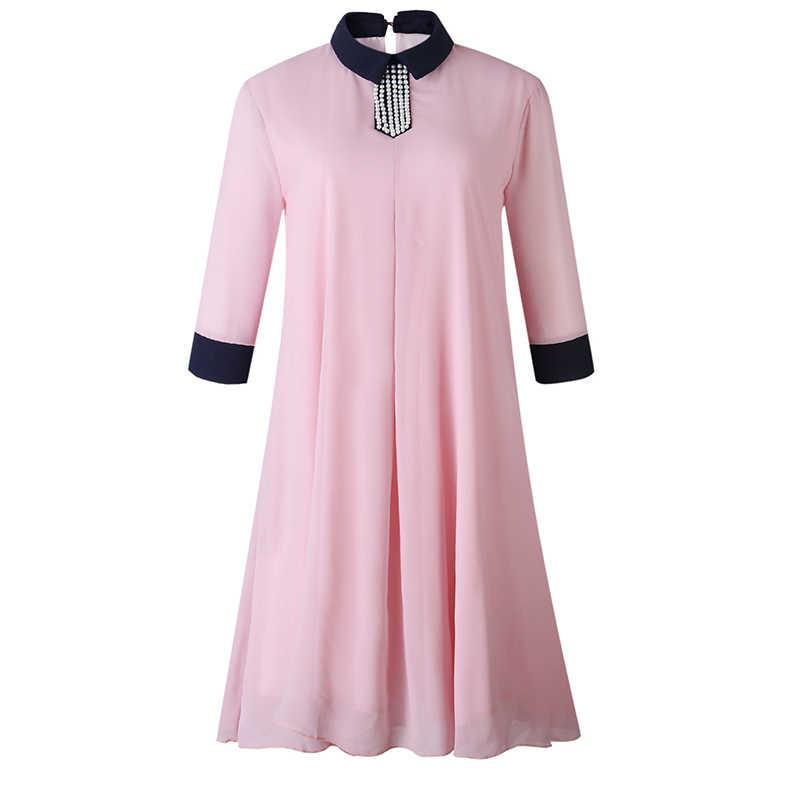 Летние Ретро женские короткие платья Повседневная рабочая одежда офисные женские розовые Большие размеры элегантное женское модное винтажное шифоновое платье