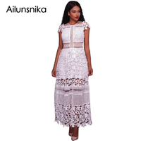 Ailunsnika Elegant Maxi Dress Women Gown Robe White Lace Hollow Out Short Sleeve Long Party Dress