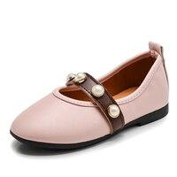 Princesa Salto Plana casuais Sapatos de Couro Pu Cristal Bling Sólida Princesa Meninas Para Fora O Desgaste Macio Respirável Sapatos Casuais Meninas Do Bebê