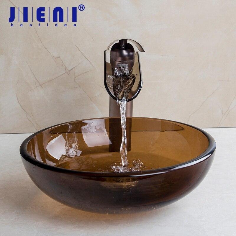 JIENI Tall Black Basin Tap Bathroom Sink Washbasin Glass Hand-Painted Lavatory Bath Sink Combine Set Torneira Mixer Faucet eyki 8618