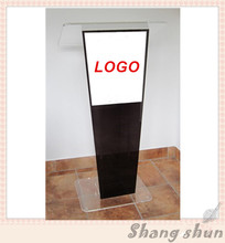 Luxury Display Goods Logo Acrylic Lectern Modern Curved Acrylic Podiums Lectern/ Eco – Friendly Acrylic Church Pulpit