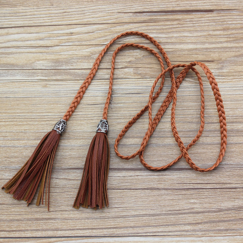 130cm Women Ladies Braided Belt PU Leather Tassel Thin Waist Tassles Rope Belts Waistband