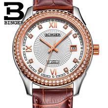 Switzerland men s watch luxury brand Wristwatches BINGER diamond Mechanical Wristwatches leather strap Waterproof B1112B 8