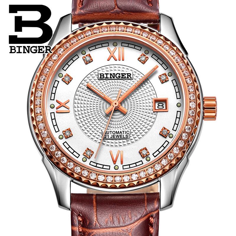 Switzerland men's watch luxury brand Wristwatches BINGER diamond Mechanical Wristwatches leather strap Waterproof B1112B 8
