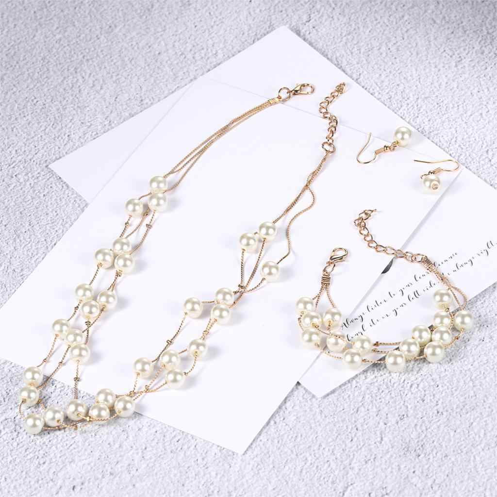 Double Fair Wedding Bridal Jewelry Set For Women Gold-Color Fashion Jewelry 3pcs Necklace+Bracelet+Earring S441 Amazing Price