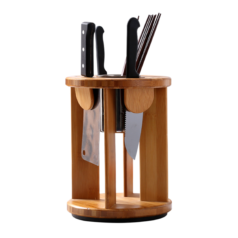 Rotating Chassis Bamboo Knife Holder Multifunctional Wood Knife Block For Stand Storage Rack Kitchen Tools