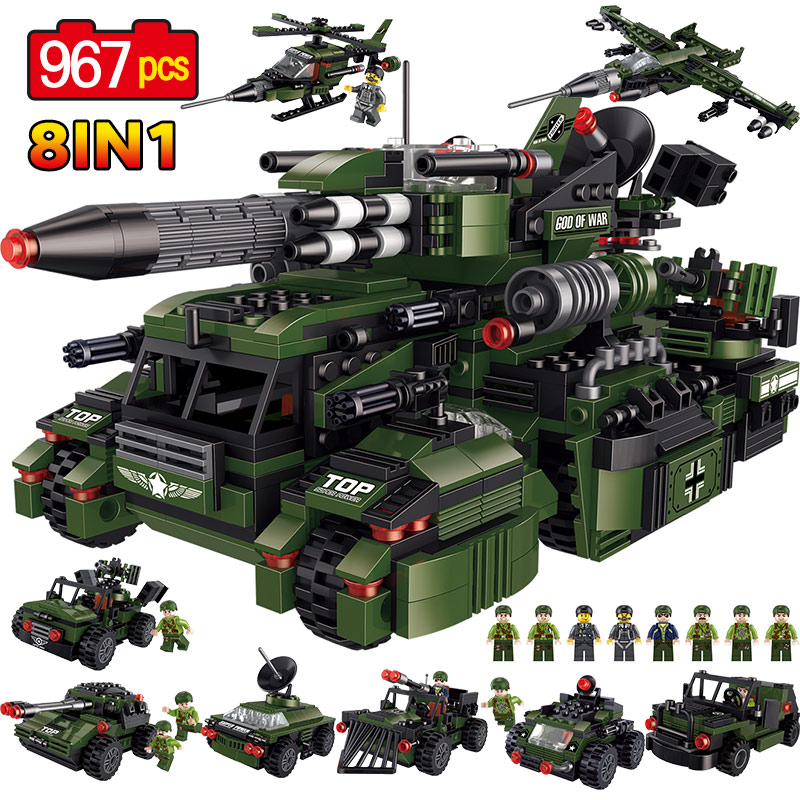 8 In 1 God Of Wars Assault Chariot Blocks 967pcs Bricks Building Blocks Compatible legoINGLY Military City Educational Kid Toys