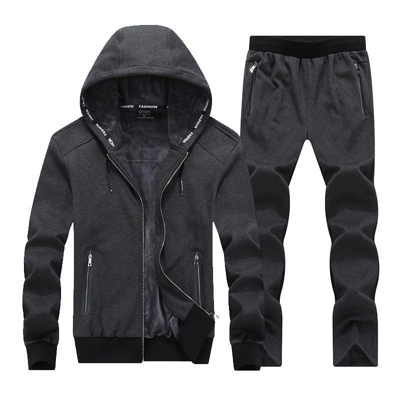 Men Running Set Clothing Sportswear 2018 Winter Fleece Velvet Hoodies Sweatshirts Sets Tracksuits Suit Male Jacket