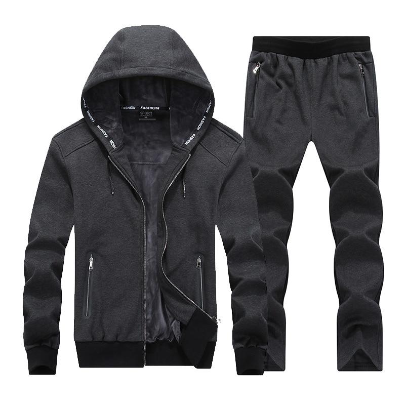 Men Running Set Clothing Sportswear 2018 Winter Fleece Velvet Hoodies Sweatshirts Sets Tracksuits Suit Male Jacket