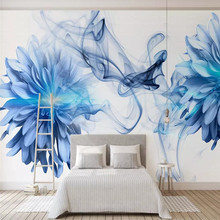 Abstract smoke blue flowers bedroom background wall professional making mural wallpaper wholesale custom poster photo wall blue smoke