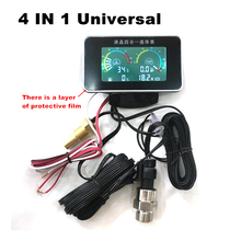 4 In 1 LCD 12v/24v Excavator Truck Car Water Temperature Oil Pressure Fuel voltage Gauges With 10 Mm Temperature Sensor