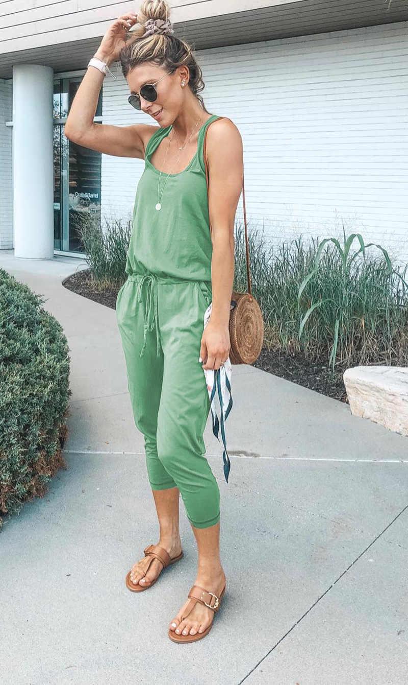 Летняя уличная мода 2019 повседневное Комбинезоны для малышек женский комбинезон без рукавов бандаж голые плечи сексуальное боди для женщин длинные