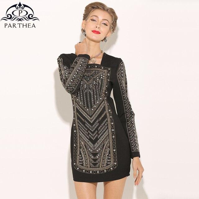 ed21a70a74 Parthea Luxury Diamond Party Dress Black Women Metallic Rivets Club Dress  Sexy Spring Winter Bodycon Dresses