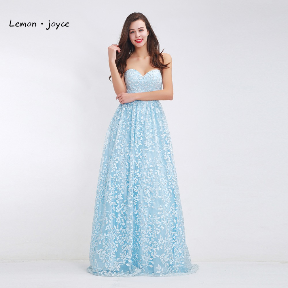 Online buy wholesale light yellow bridesmaid dresses from china light blue bridesmaid dresses 2017 new collections sweetheart embroidery a line maxi long prom dresses ombrellifo Images