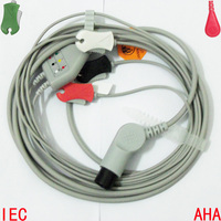 Compatible with BCI,CSI,GE,Nellcor,Nihon Kohden,Philips,Mindray Patient ECG/EKG Monitor with 3 lead Cable and Leadwire