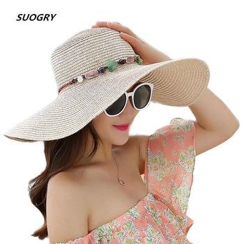SUOGRY 2019 Hot Women Big Brim Sun Hats Colorful Stone Hand Made Straw Hat Female Summer Casual Shade Beach Cap