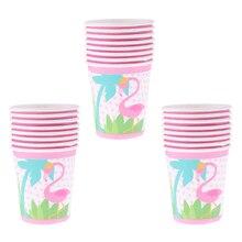 24 pçs flamingo tema copos de papel crianças festa decoração