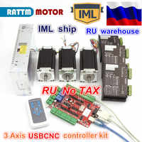 3 Axis USBCNC Controller kit 3x NEMA23 stepper motor 425oz-in 112mm 3A Dual shaft & 2740C stepper Driver & 400W 36V Power supply