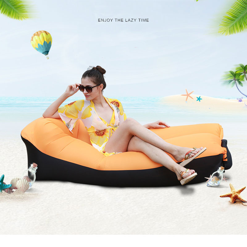 Fast inflatable Air Sofa Bed Outdoor Garden Furniture Camping Waterproof Lazy Sleeping Bags Foldable Protable Air SofaGarden Sofas   -