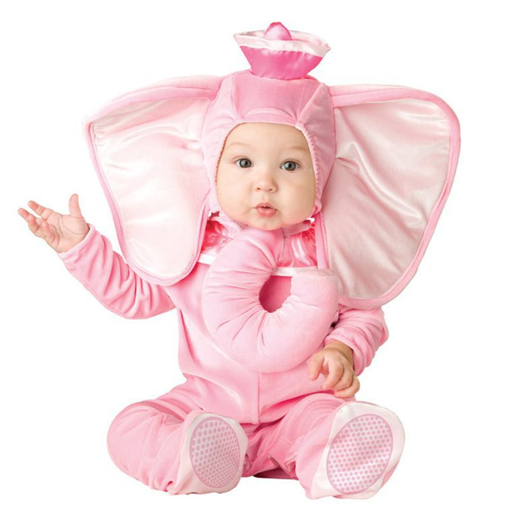 2017 Fashion Baby Costume Infant Baby Girls Pink  Elephant Rompers Cosplay Newborn Toddlers Clothing Set  fz044-19 brand infants costume series animal clothing set lion monster owl cow clasp elephant kangroo baby cosplay cute free shipping